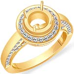1CT Round Diamond Semi Mount Engagement Ring 14k Yellow Gold