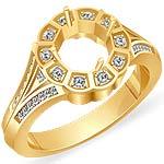 0.45 CT Round Diamond Semi Mount Engagement Ring 14k Yellow Gold