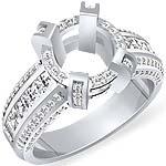 2 1/4 Ct Round Setting Princess Diamond Engagement Ring 14K White Gold
