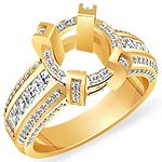 2.25 Ct Round Setting Princess Diamond Engagement Ring 14K Yellow Gold