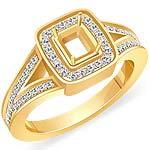 0.65 CT Round Diamond Emerald Setting Engagement Ring 14k Yellow Gold