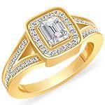1.00 Ct Emerald Round Diamond Engagement Ring 14K Yellow Gold