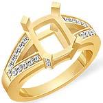 1/2 CT Emerald Setting Round Diamond Engagement Ring 14k Yellow Gold