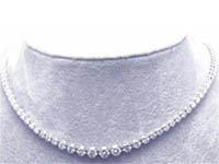 1 1/2 CT Round Diamond Tennis Necklace 18k White Gold