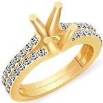 1/2 Ct Round Diamond Semi Mount Engagement Ring 14K Yellow Gold