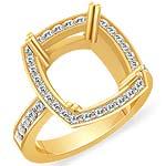 1/2 CT Round Diamond Engagement Ring Cushion Setting 14K Yellow Gold