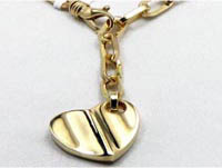 19.10 gm 14K Italian Yellow Gold Heart Necklace 19 1/2 Inch