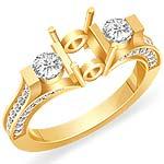 0.85 CT 3 Stone Round Side Diamond Engagement Ring 14k Yellow Gold