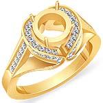 0.80 CT Round Semi Mount Diamond Engagement Ring 14k Yellow Gold