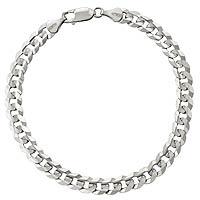 6.60 gm 14K Solid White Gold Link Men's Bracelet Chain 8 inch