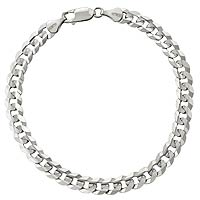 6.00 gm 14K Solid White Gold Link Men's Bracelet Chain 7 1/2 inch
