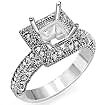 1/2 CT Princess Pave Setting Diamond Engagement Ring 14K White Gold
