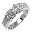 1.32 CT Princess Engagement Diamond Ring 14k White Gold