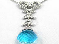 9.82 CT Blue Topaz Round Diamond Heart Necklace 18K White Gold