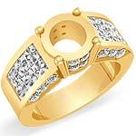 1 3/4Ct Princess Round Setting Diamond Engagement Ring 14K Yellow Gold