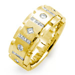 1CT Princess Round Men's Diamond Wedding Band Ring 14K Yellow Gold