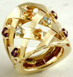 7 Gm 14K Yellow Gold Lady Multi Color Stone Ring New