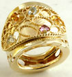 6.50Gm 14K Yellow Gold Vintage Style Multi Color Stone Fashion Ring