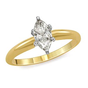 0.90 CT Marquise Solitaire Diamond Engagement Ring 14K Yellow Gold H VS2
