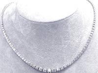 2 1/2 CT Round Diamond Tennis Necklace 18K White Gold