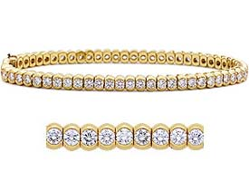 2.00 CT Tennis Round Diamond Bracelets 14K Yellow Gold