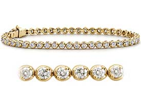 1.60 CT Round Diamond Tennis Bracelet 18K Yellow Gold