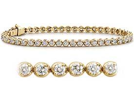 1.60 CT Round Diamond Tennis Bracelet 18K Yellow Gold