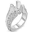 1.08 CT Round Semi Mount Diamond Engagement Ring 14K White Gold