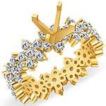 2 1/4 CT Round Diamond Setting Eternity Engagement Ring 14K Yellow Gold