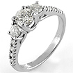0.90 CT Round Diamond 3 Stone Anniversary Ring 14k White Gold