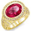 6 Ct Oval Pink Tourmaline & Round Diamond Ring 14K Yellow Gold