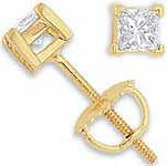 1/4 Ct Princess Diamond Stud Earrings 14k Yellow Gold G SI1