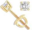 1/4 Ct Round Diamond Stud Earrings Yellow 14k Gold