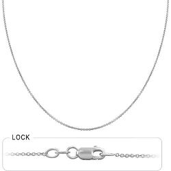 1.3gm 14k White Gold Light Weight Rolo Chain 16 inch