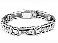 5 1/2 CT Princess Men's Diamond Bracelet 14k White Gold