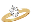 0.36 CT Oval Solitaire Engagement Diamond Ring 14K Yellow Gold J,VS2