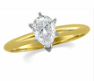 1/4 CT Pear Solitaire Engagement Diamond Ring 14K Yellow Gold J,SI1