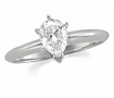 0.54 CT Pear Solitaire Diamond Engagement Ring 14K White Gold H SI2