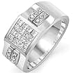 1 Ct Princess Round Diamond Men's Ring 14K White Gold