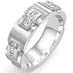 1 CT Men's Princess Eternity Wedding band 14K White Gold