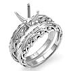 1/4 CT Round Diamond Engagement Ring Bridal Set 18K White Gold