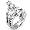 1.13 Ct 3 Stone Round Anniversary Diamond Ring 18K White Gold