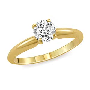 0.33 CT Round Solitaire Engagement Diamond Ring 14K Yellow Gold H SI1