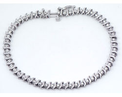 1.30 CT Round Diamond Tennis Bracelet 14k White Gold