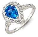 1 3/4 CT Blue Topaz Round Diamond Engagement Ring 14k White Gold