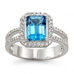 2 1/4 CT Emerald Cut Blue Topaz Diamond Ring 14K White Gold