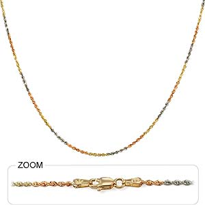 15.50gm 14K Tri Color Gold Diamond Cut Rope Chain 26 inch 3.00mm