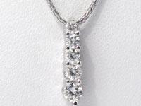 1/2 Ct 5 Stone Round Diamond Pendant 14k White Gold