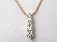 1/2 CT 5 Stone Round Diamond Pendant 14k Yellow Gold