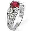 1 3/4CT Rhodonite Vintage Engagement Round Diamond Ring 14K White Gold